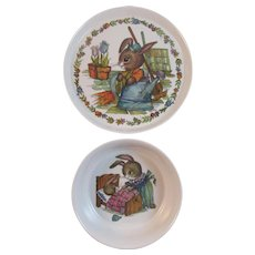 Melamine Bunny Rabbit Child's Dish Set Plate and Bowl by SiLite Vintage Children's Tableware