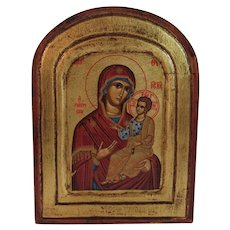 Byzantine Icon St. Anne Tempera and Egg Painted on Canvas and Wood