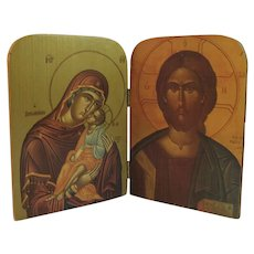 Vintage Madonna and Child and Jesus Carved Wood Hinged Icon Russian