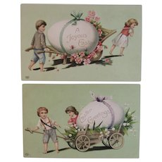 2 EAS Embossed German Easter Postcards Children with Egg Carts Edwardian Era