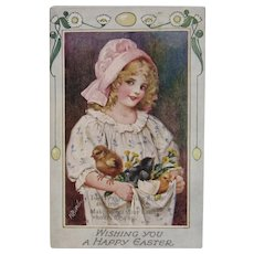 May Bowley Signed Oilette Easter Postcard from Raphael Tuck & Sons Girl with Baby Chicks and Marigolds