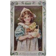 May Bowley Signed Oilette Easter Postcard from Raphael Tuck & Sons Girl with Baby Chicks in Hatched Egg