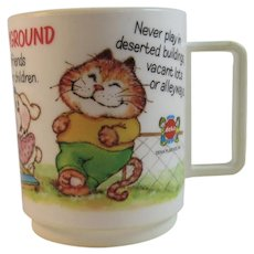 Deka Plastics Cats and Dogs At the Playground Mug Vintage Childs Cup