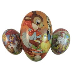 3 German Easter Egg Candy Containers Papier Paper Mache East Germany Bunny Chick Rooster Bunnies Rabbit Vintage