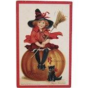 1910 Frances Brundage Signed Halloween Postcard Witch Broomstick Pumpkin and Black Cat Embossed Germany German