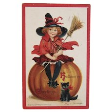 1910 Frances Brundage Signed Halloween Postcard Witch Broomstick Pumpkin and Black Cat Embossed Germany German