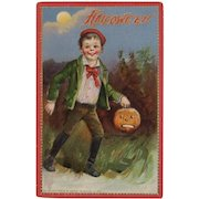 Tuck's Halloween Postcard Boy with JOL Jack O Lantern Embossed Printed in Saxony Germany Raphael Tuck & Sons