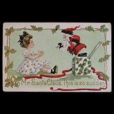 1910 HBG HB Griggs Signed Santa Jack in the Box Postcard L&E