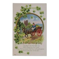 E Nash St. Patrick's Day Embossed Postcard Irish Lady in Hay Cart