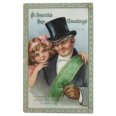 1915 German St. Patrick's Day Postcard Little Girl with Man in Top Hat Four Leaf Clover
