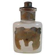 Larkin Tooth Powder Bottle Original Top and Label Victorian Vanity Antique