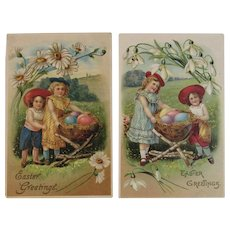 Edwardian German Easter Postcards Children with Egg Baskets on Twig Stands Embossed