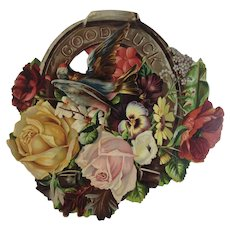 1880s Good Luck Horseshoe Die Cut Large Advertising Card from McCullough Magnetic Soap Victorian Era Flowers and Bird
