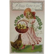 German Tuck's Easter Postcard Little Girl in Pink Dress with Basket of Chicks Rooster Clovers Raphael Tuck Tucks