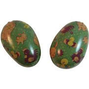 Tin Litho Easter Eggs Candy Containers with Bunny Chick and Rooster Decoration Vintage
