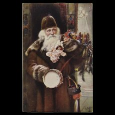 Raphael Tuck & Sons Santa Oilette Postcard Brown Robe Old World German Germany Bavaria