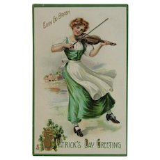 Tuck's Irish Maiden Dancing and Playing Fiddle Embossed St. Patrick's Day Postcard Germany German