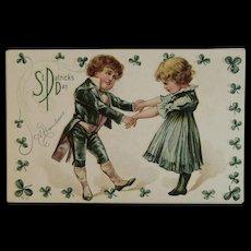 Nash Unused St. Patrick's Day Postcard A Remembrance 2 Irish Children Dancing Embossed