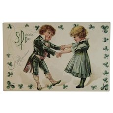 Nash Unused St. Patrick's Day Postcard A Remembrance 2 Children Dancing Embossed