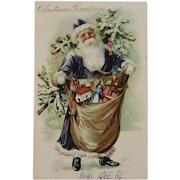Tuck Purple Robe Santa Embossed Undivided Back Postcard RTS Raphael Tuck & Sons