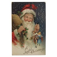 1913 German Santa Postcard Chromo Embossed A Joyful Christmas