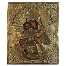 Russian Icon Madonna and Child Metal over Wood with Painting