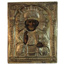 Russian Icon Metal over Wood with Painting of a Saint