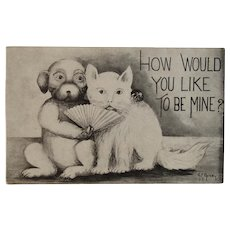 Cat & Dog Valentine Postcard Unused Artist Signed by A. E. Avery Kawin & Co Publisher 1909