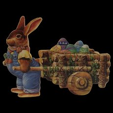 Wood Easter Bunny Cart to Hold Eggs Vintage Silvestri