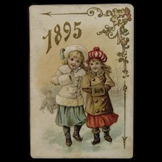 1895 Victorian Pocket Calendar with Children Ice Skating Advertising Trade Card for Marvin Bakery in Pittsburgh Pennsylvania