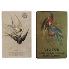 2 Victorian Advertising Trade Cards with Birds Swallow and Parakeet Parrot from Clark's Mile End and Victor Sewing Machines
