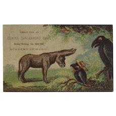1882 Elmira NY Sangerbund Hall Ball Ticket Invitation Donkey and Crows Saengerbund Academy of Music