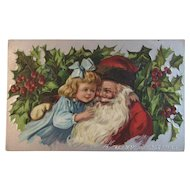 1909 Santa with Little Girl Embossed Postcard