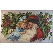1909 Santa with Little Girl Embossed Postcard