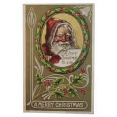 1908 Santa Embossed Postcard Julius Bien