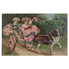 Children in Dog Cart Covered with Flowers Saint Bernard German Embossed Postcard Germany