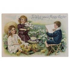 1909 Tuck's Easter Postcard Children with Chicks and Sketch Artist Germany German Raphael Tuck & Sons Embossed