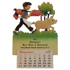 1976 West German Die Cut Calendar Pig Scene The Dutchman's Brau Haus and Restaurant Long Beach Island Causeway New Jersey