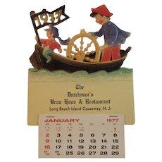 1977 German Die Cut Calendar Nautical Scene The Dutchman's Brau Haus and Restaurant Long Beach Island Causeway New Jersey