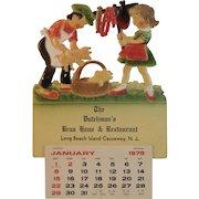 1978 German Die Cut Calendar Pigs in Basket Scene The Dutchman's Brau Haus and Restaurant Long Beach Island Causeway New Jersey