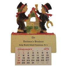1979 German Die Cut Calendar Good Luck Wishing Well Shamrock Scene The Dutchman's Brauhaus and Restaurant Long Beach Island Causeway New Jersey