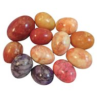 12 Italian Marble Alabaster Stone Easter Eggs Vintage Decoration Red Pink Purple Peach Orange Colors