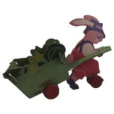 Trixy Toy Easter Bunny Egg Cart Pull Toy Vintage Decoration TrixyToy Boston Pink Rabbit