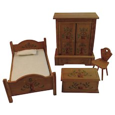 German Dollhouse Bedroom Furniture Painted Wood US Zone Germany Room Setting Bed Blanket Chest Wardrobe and Chair Vintage 1940s