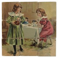 1898 McLoughlin Bros Lithograph Block Puzzle Victorian Era Antique Litho Toy