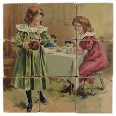 1898 McLoughlin Bros Lithograph Block Puzzle Victorian Era Antique Litho Toy