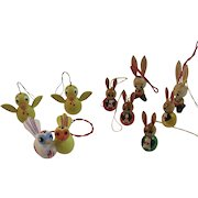 9 Miniature Easter Bunny and Chick Wood Ornaments Vintage Hand Painted