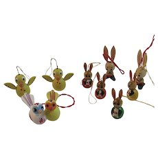 9 Miniature Easter Bunny Rabbit and Chick Wood Ornaments Vintage Hand Painted