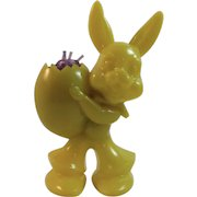 Easter Bunny Candy Container Hard Plastic Yellow Vintage Decoration