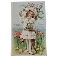 German Tuck's Easter Postcard Little Girl in White Dress with Basket of Flowers and Chicks Raphael Tuck & Sons Tucks Embossed